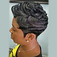 Human Hair Capless Parykker Menneskehår Krøllet Pixie frisure Afro-amerikansk paryk Kort Maskinproduceret Paryk Dame