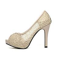 Χαμηλού Κόστους Prom Shoes-Γυναικεία Παπούτσια PU Καλοκαίρι Ανατομικό Τακούνια Τακούνι Στιλέτο Ανοικτή Μύτη / Ανοικτή μύτη Μαύρο / Μπεζ