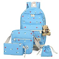 baratos Mochilas-Mulheres Bolsas Poliéster / Tela de pintura mochila Estampa / Ziper para Viajar Azul Escuro / Roxo / Azul Céu
