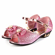 tanie Obuwie dziewczęce-Dla dziewczynek Buty Derma Wiosna Jesień Buty dla małych druhen Comfort Sandały na Casual Silver Niebieski Różowy