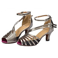 baratos Sapatilhas de Dança-Mulheres Sapatos de Dança Latina Cetim / Couro Sintético Sandália / Salto Salto Personalizado Personalizável Sapatos de Dança Cinzento /