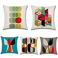 cheap Throw Pillows-5 pcs Cotton / Linen Pillow Cover, Geometric Bohemian Style Retro