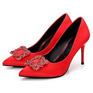 abordables Talons pour Femme-Femme Chaussures Soie Printemps / Automne Escarpin Basique Chaussures à Talons Talon Aiguille Bout pointu Strass Noir / Rouge / Mariage