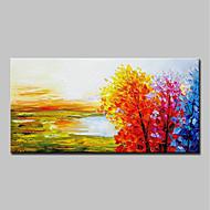 billiga Oljemålningar-Hang målad oljemålning HANDMÅLAD - Landskap Enkel Moderna Duk