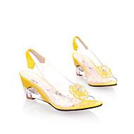 お買い得  レディースサンダル-女性用 靴 シリカゲル 夏 コンフォートシューズ サンダル ウエッジヒール ラウンドトウ クリスタル のために カジュアル ホワイト イエロー レッド