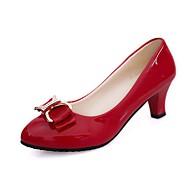 Žene Cipele PU Proljeće Jesen Udobne cipele Cipele na petu Kockasta potpetica Okrugli Toe za Kauzalni Obala Crn Bež Crvena