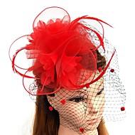 Pluma / Red Fascinators / Flores / Sombreros con Plumas / Piel / Flor 1pc Boda / Ocasión especial Celada