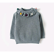 billige Sweaters og cardigans til babyer-Pige Trøje og cardigan Ensfarvet, Bomuld Forår Langærmet Lyserød Grå