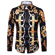 Majica Muškarci, Ležerne prilike Dnevno Izlasci Dugih rukava Kragna košulje Proljeće Jesen Poliester
