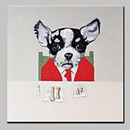 billiga Djurporträttmålningar-Hang målad oljemålning HANDMÅLAD - Djur Djur Enkel Moderna Duk