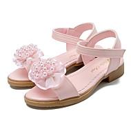 お買い得  フラワーガールシューズ-女の子 靴 レザーレット 夏 10代のための小さなハイヒール フラワーガールシューズ サンダル アップリケ 面ファスナー フラワー のために パーティー ドレスシューズ ホワイト ピンク