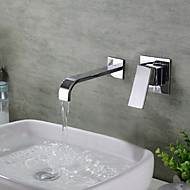 cheap Bathroom Sink Faucets-Contemporary Wall Mounted Waterfall Ceramic Valve Three Handles Two Holes Chrome, Bathroom Sink Faucet