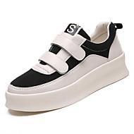 お買い得  レディーススニーカー-女性用 靴 PUレザー 春 コンフォートシューズ スニーカー フラットヒール ラウンドトウ のために カジュアル ブラック ベージュ