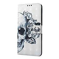billiga Mobil cases & Skärmskydd-fodral Till Xiaomi Redmi not 5A Redmi Note 4X Korthållare Plånbok med stativ Lucka Magnet Mönster Dödskalle Hårt för
