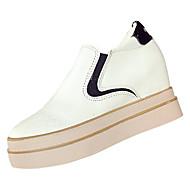 baratos Sapatilhas Femininas-Mulheres Sapatos Couro Ecológico Primavera Outono Conforto Rasos Salto Plataforma para Branco Preto