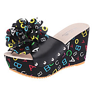 Feminino Sapatos Couro Ecológico Primavera Verão Conforto Sandálias Creepers para Casual Branco Preto