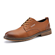 お買い得  メンズオックスフォードシューズ-男性用 靴 本革 スエード レザー 春 コンフォートシューズ フォーマルシューズ オックスフォードシューズ のために カジュアル ブラック グレー Brown