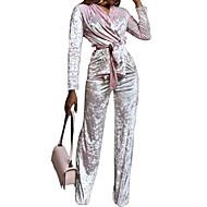 Mulheres Veludo Conjunto Sólido Cintura Alta Calça Decote V