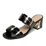 halpa -Naiset Sandaalit Comfort PU Kevät Kesä Kausaliteetti Puku Comfort Leveä korko Valkoinen Musta 2-2,75in
