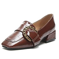 Mujer Zapatos PU Primavera Confort Zapatos de taco bajo y Slip-On Tacón Cuadrado Dedo cuadrada Negro / Almendra 7E8Gg