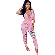 Dames Dagelijks Blozend Roze Jumpsuit, Effen M L XL Katoen 3/4 mouw Winter / Sexy