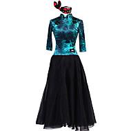 cheap Dancewear & Dance Shoes-Ballroom Dance Dresses Women's Performance Chinlon Elastane Chiffon Tulle Pattern / Print 3/4 Length Sleeves Natural Dress