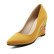 Naiset Kengät Nupukkinahka Kevät Kesä Comfort Uutuus Korkokengät Kiilakantapää Pointed Toe Aplikointi varten Häät Juhlat Harmaa Keltainen