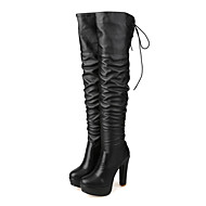 cheap Women's Boots-Women's Shoes PU Winter Fall Comfort Novelty Fashion Boots Boots High Heel Pointed Toe Round Toe Over The Knee Boots for Office & Career