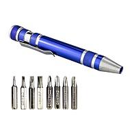 billige Gardinstenger og tilbehør-bærbar 8 i 1 aluminiumslegering pennestil multi-verktøy skrutrekker presisjon mobiltelefon reparasjonsverktøy kit
