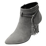 preiswerte -Damen Schuhe PU Frühling Herbst Komfort Stiefel Stöckelabsatz für Schwarz Beige Grau