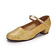 baratos Sapatilhas de Dança-Mulheres Sapatos de Dança Moderna Paetês / Couro Ecológico Salto Lantejoula Salto Personalizado Personalizável Sapatos de Dança Dourado