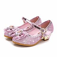 billige Sko til blomsterpiger-Pige Sko Glimtende Glitter Forår Efterår Tiny Heels for teenagere Sko til blomsterpiger Komfort Hæle for Afslappet Lilla Lys pink
