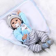 NPK DOLL Reborn-dukker Baby 22 inch Silikone / Vinyl - livagtige, Hånd Anvendte Øjenvipper, Kunstig implantation Blå øjne Børne Unisex Gave / CE / Tippede og forseglede negle / Naturlig hudfarve