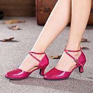 billige Moderne sko-Dame Moderne sko Glitter / Kunstlær Høye hæler Kustomisert hæl Kan spesialtilpasses Dansesko Fuksia / Rød / Blå