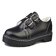Feminino Sapatos Couro Ecológico Outono Conforto Botas da Moda Botas Rasteiro Ponta Redonda Botas Curtas / Ankle Para Casual Preto Marron