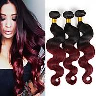 お買い得  グラデーションカラー・ヘアエクステンション-ブラジリアンヘア ウェーブ 人間の髪織り 3本 ホット販売 0.3