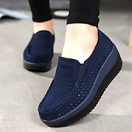 cheap -Women's Loafers & Slip-Ons Wedge Heel Round Toe Cowhide Comfort Summer / Fall Dark Blue / Gray / Red / EU40