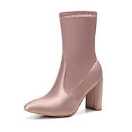 お買い得  レディースブーツ-靴 シルク 春 秋 コンフォートシューズ ファッションブーツ ブーツ チャンキーヒール ミドルブーツ のために カジュアル ブラック ライトブラウン