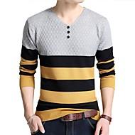 Muškarci Rad Dugih rukava Pullover Prugasti uzorak V izrez