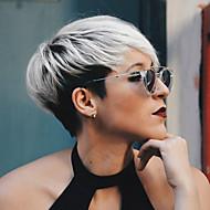 Perucas de cabelo capless do cabelo humano Cabelo Humano Liso Corte Pixie Com Franjas Parte lateral Raízes Escuras Cabelo Ombre Curto