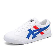 Masculino sapatos Couro Ecológico Primavera Outono Conforto Tênis Cadarço para Casual Cinzento Preto e Dourado Branco/azul