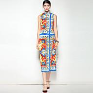 女性用 パーティー お出かけ キュート ボヘミアン ストリートファッション Aライン ミディ ドレス,フラワー プリント スタンド ノースリーブ