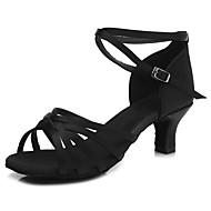 baratos Sapatilhas de Dança-Sapatos de Dança Latina Cetim Salto Vime Salto Cubano Personalizável Sapatos de Dança Preto / Bege / Castanho Escuro