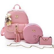 お買い得  バッグ-女性用 バッグ ポリエステル / PU バッグセット 3個の財布セット ビーズ / ジッパー / タッセル ブラック / ピンク / グレー