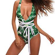 Dámské Jednodílné Plavky Sexy Cikánský Lodičkový Trávová zelená