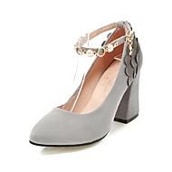 abordables Talons pour Femme-Femme Chaussures Cuir Nubuck Printemps / Automne Confort / Bride de Cheville Chaussures à Talons Talon Bottier Bout pointu Imitation