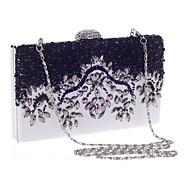 baratos Clutches & Bolsas de Noite-Mulheres Bolsas Poliéster Bolsa de Festa Detalhes em Cristal Branco