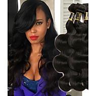 3 zestawy Włosy indyjskie Falowana 8A Włosy naturalne Fale w naturalnym kolorze Czarny Kolor naturalny Ludzkie włosy wyplata Prezent Najwyższa jakość Ludzkich włosów rozszerzeniach