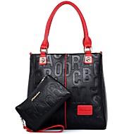 Mulheres Bolsas Couro Ecológico Conjuntos de saco 2 Pcs Purse Set Ziper para Casual Todas as Estações Azul Branco Preto Vermelho