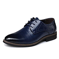 cheap Extended-Size Shoes-Men's Shoes Cowhide Leather Spring Fall Formal Shoes Oxfords Split Joint for Office & Career Party & Evening Black Brown Blue